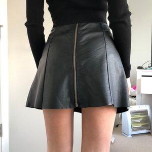 All Saints High Waisted Leather Skirt